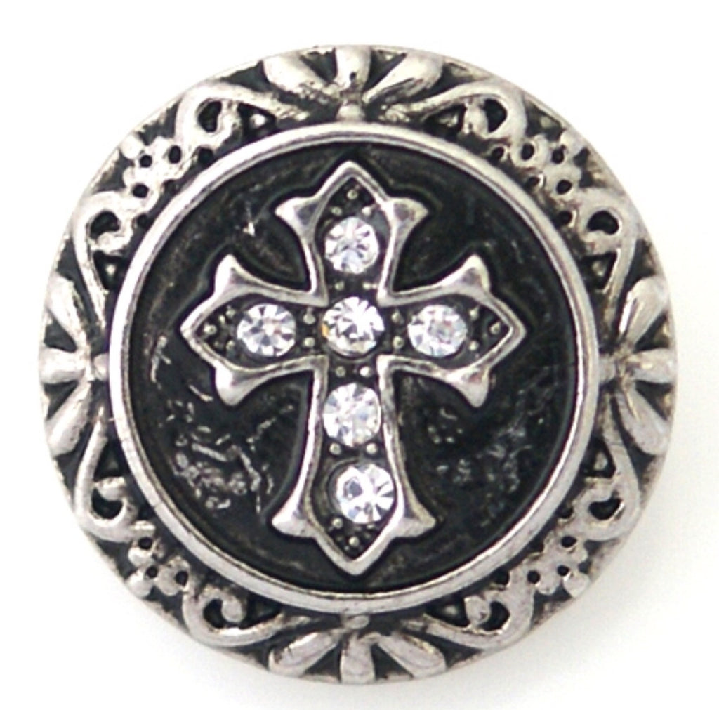 Cross Black Snap Charm