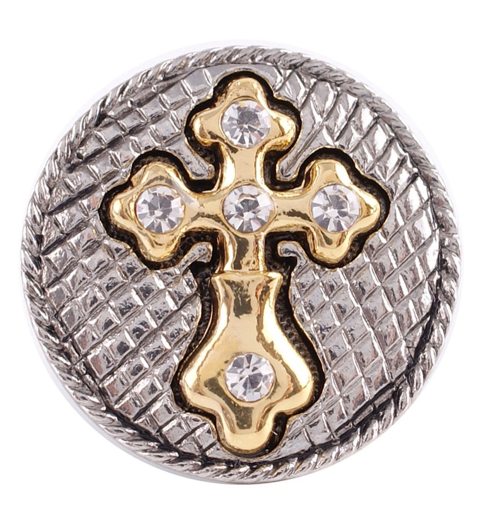 Cross Two-Toned Snap Charm