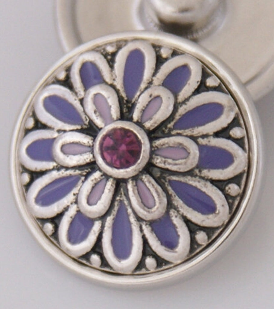 Intricate Lilac Flower Snap Charm