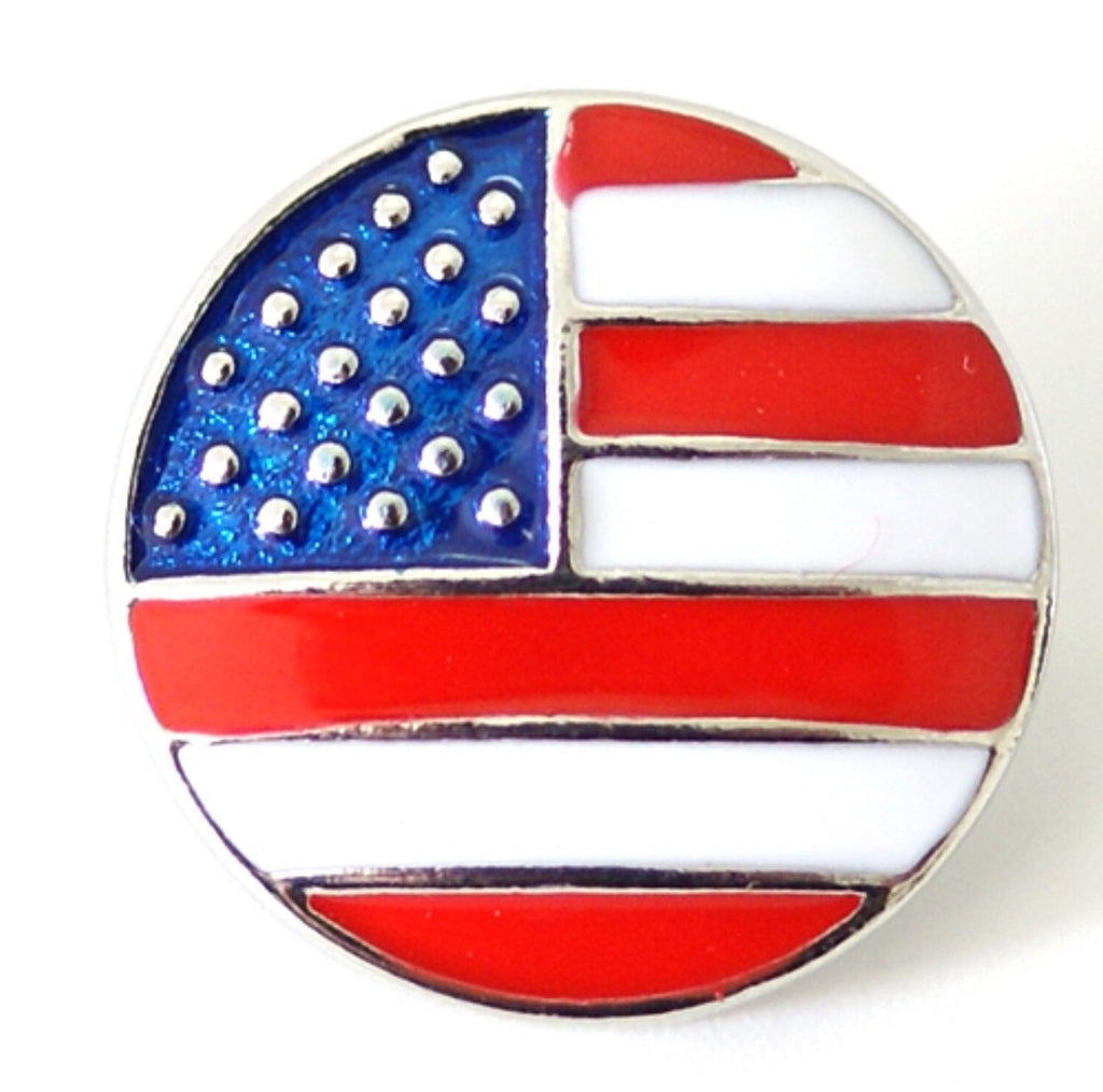 American Flag Bright Colored Snap Charm