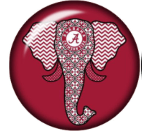 Alabama Elephant Glass Snap Charm