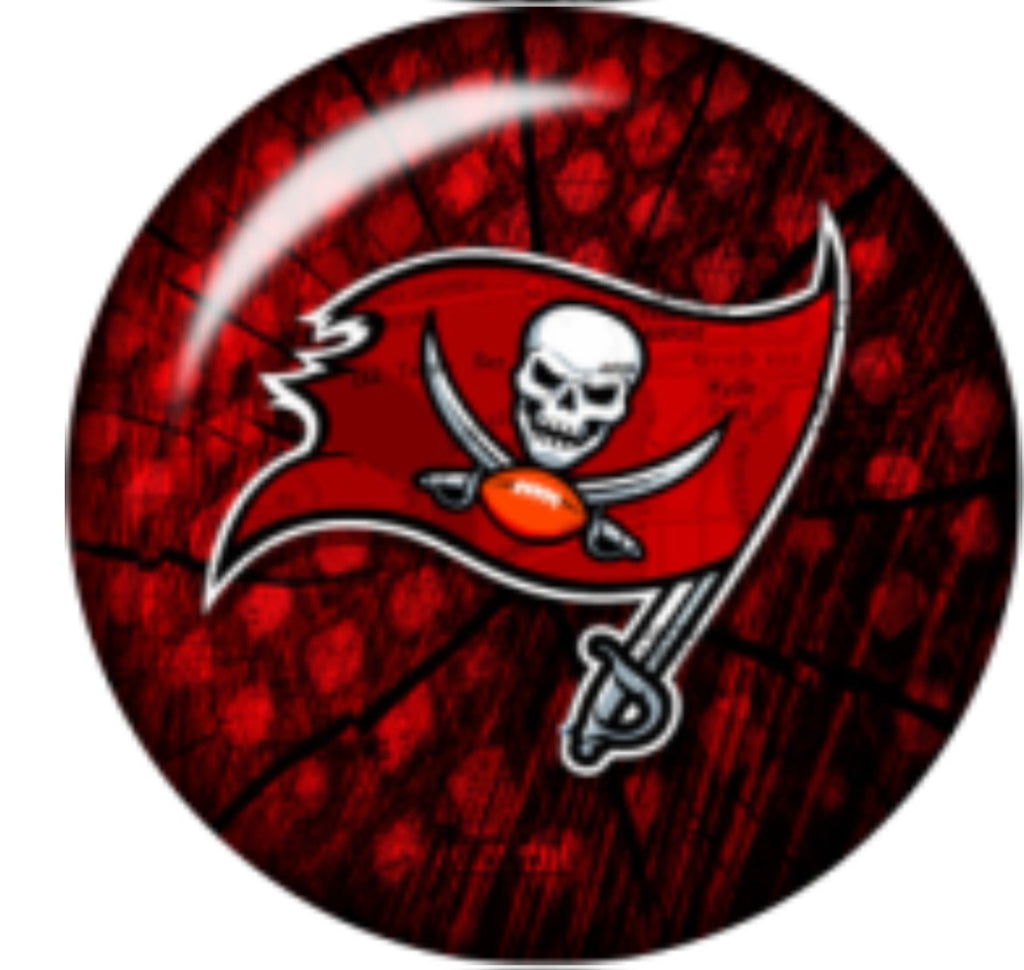 Bucs Red Glass Snap Charm