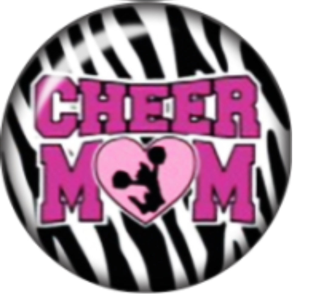 Pink Cheer Mom Glass Snap Charm