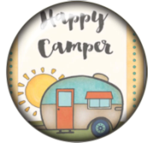 Happy Camper Glass Snap Charm