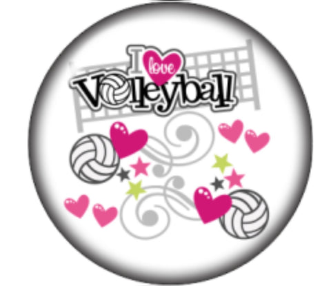 Volleyball Loving Glass Snap Charm