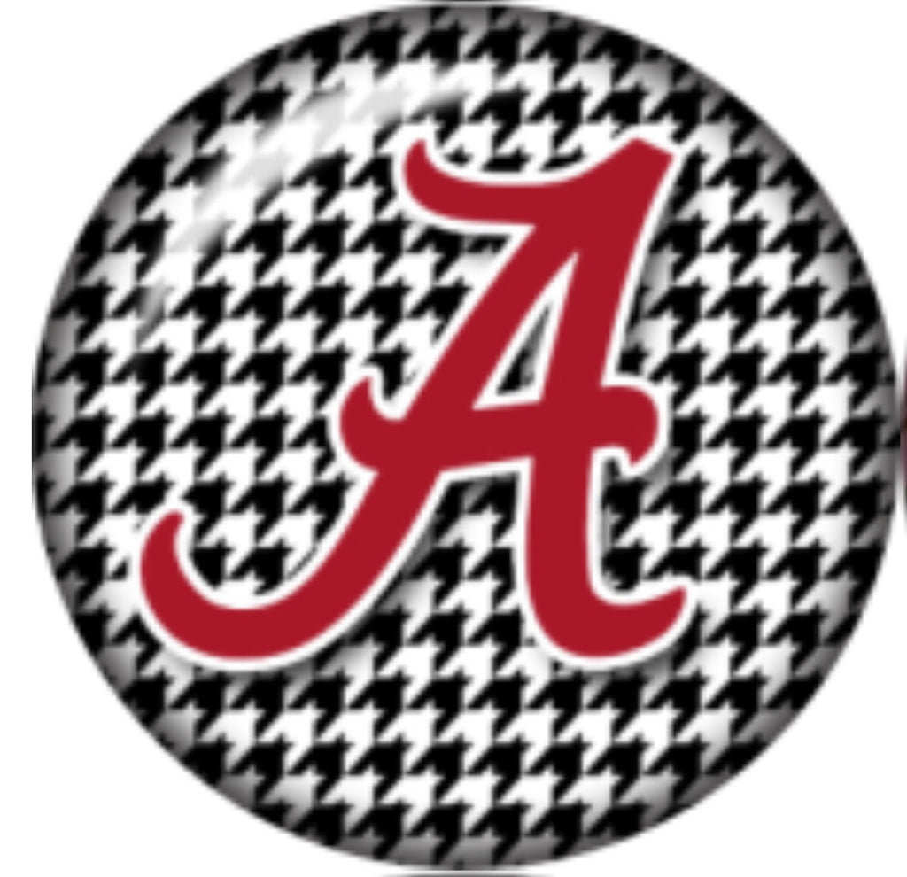 Alabama Houndstooth Glass Snap Charm