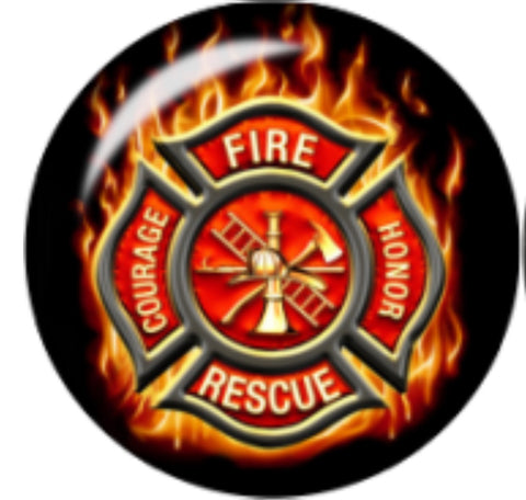 Firefighter Glass Snap Charm