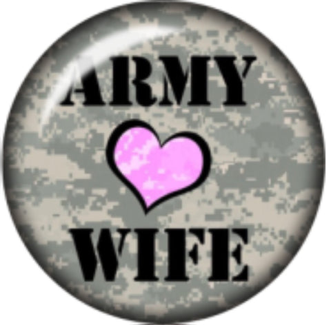 Army Wife Glass Snap Charm