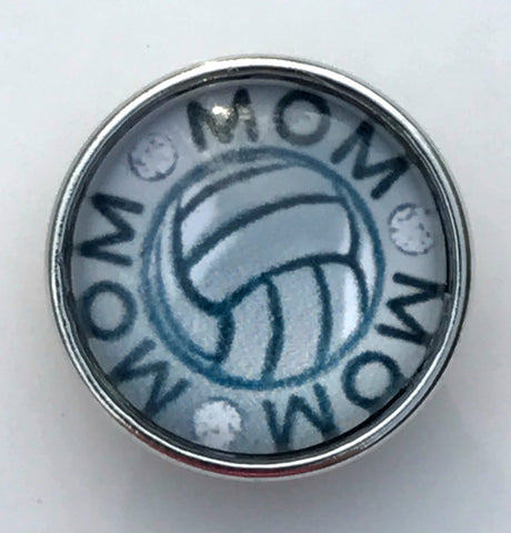 Volleyball Mom Glass Snap Charm