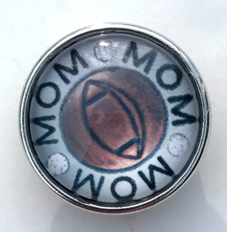 Football Mom Glass Snap Charm
