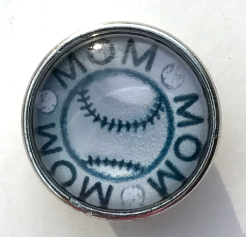 Baseball Mom Glass Snap Charm
