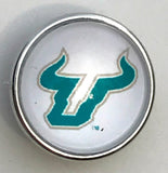 Bulls White Glass Snap Charm