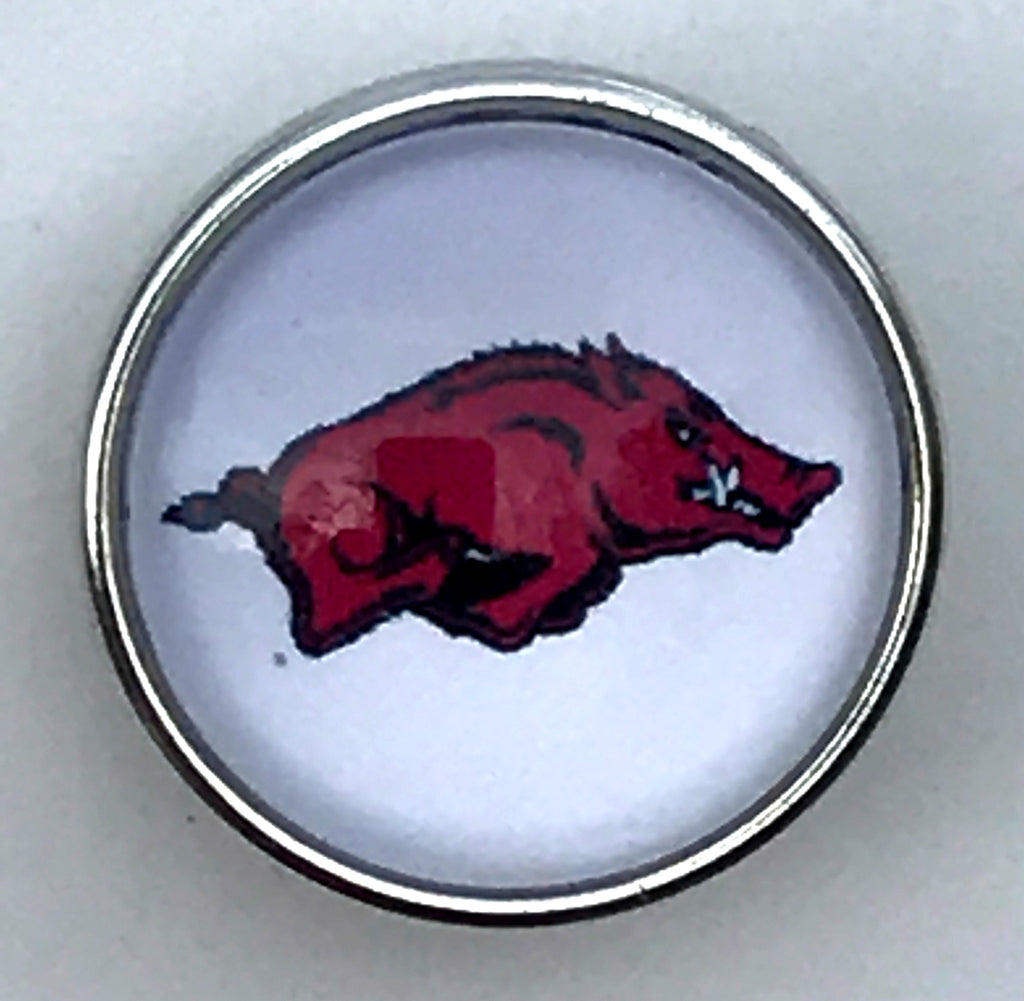 White Razorback Glass Snap Charm