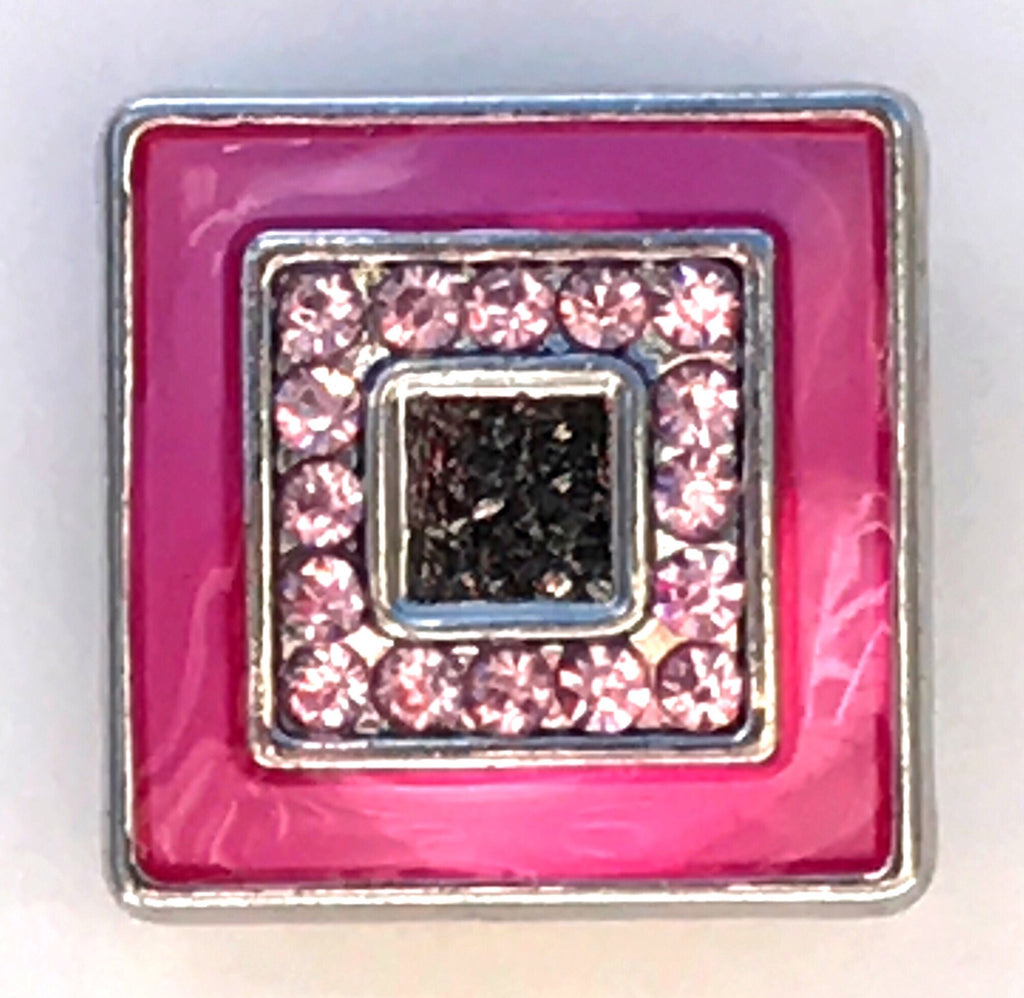 Unique Pink Square Snap Charm