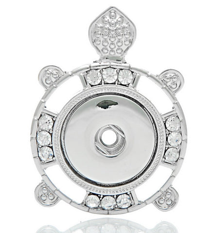 Turtle Tribal Clear Snap Charm Pendant