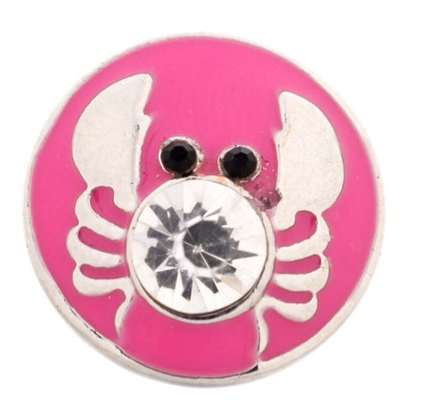 Pink Sparkle Crab Snap Charm