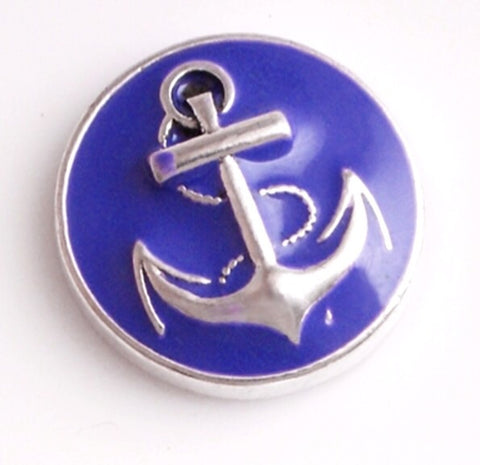 Anchor Purple Snap Charm