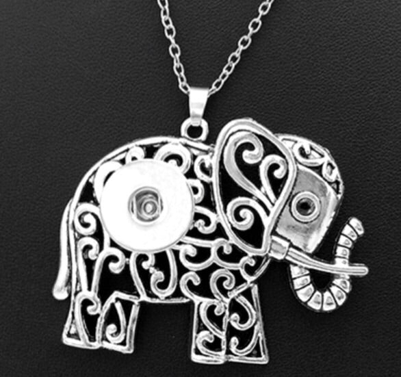 Elephant Scroll Snap Charm Pendant