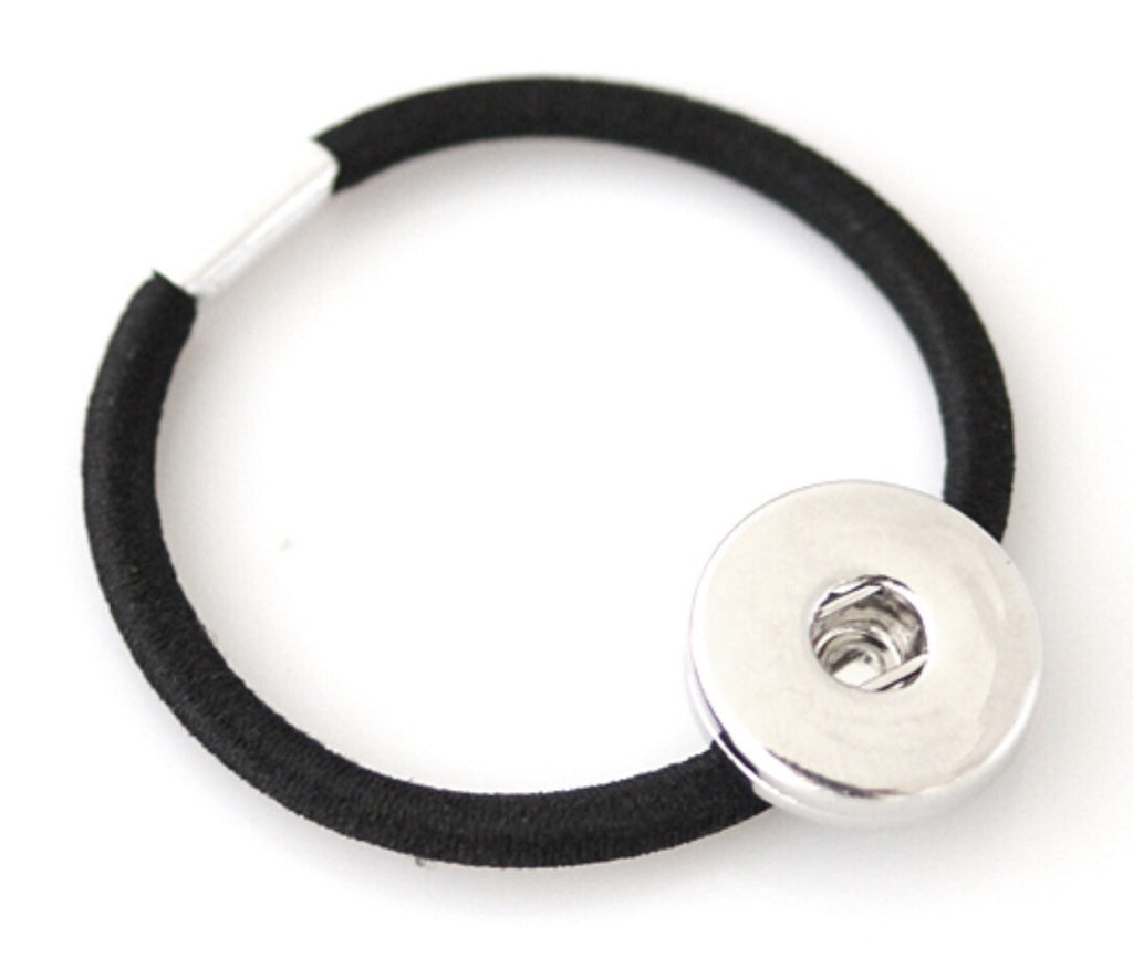 Hair Tie Black Snap Charm