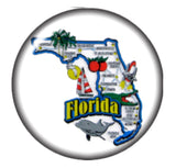 State of Florida Glass Snap Charm