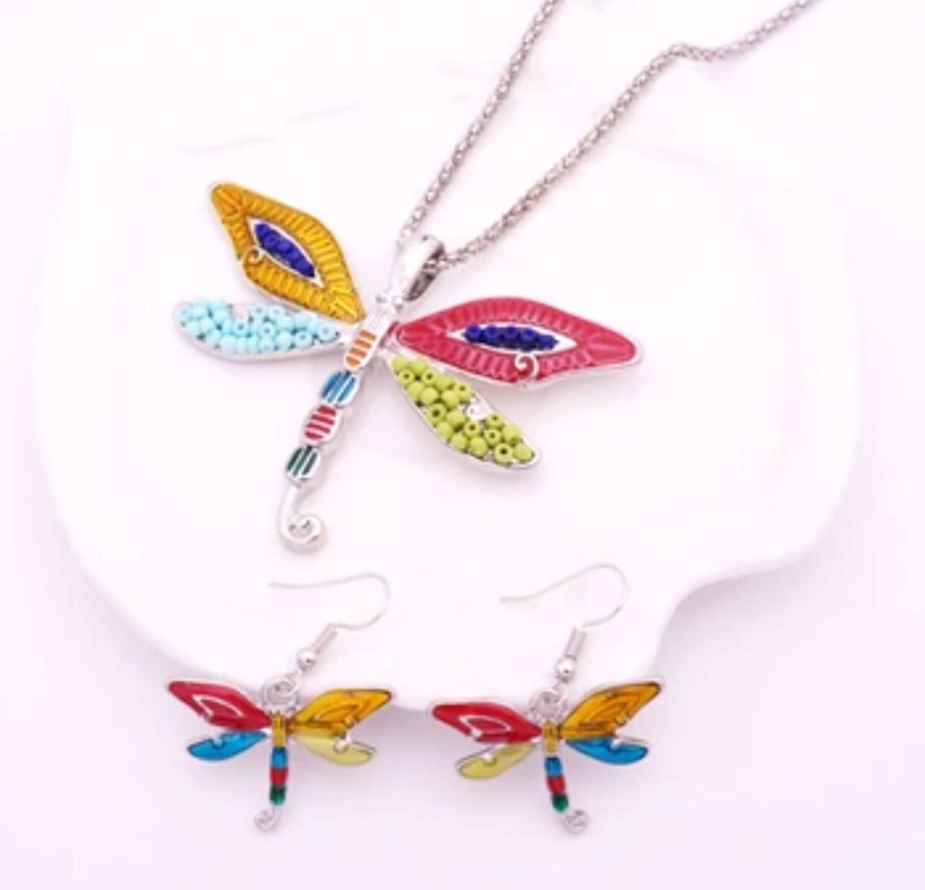 Dragonfly Beaded Earring & Pendant Set