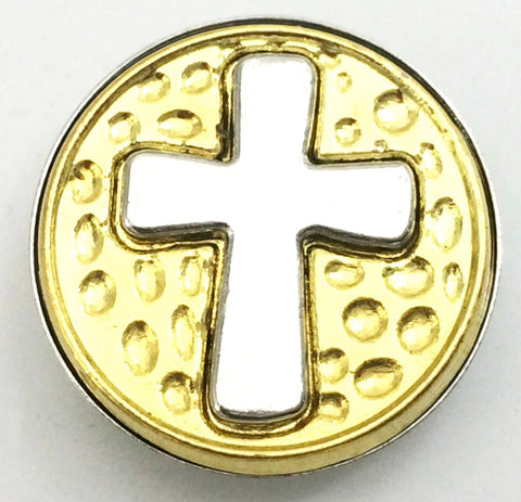 Two-Tone Cross Snap Charm