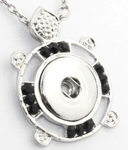 Turtle Tribal Black Snap Charm Pendant