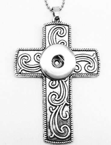 Cross Scroll Snap Charm Pendant
