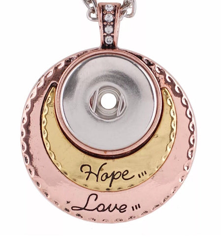 Tricolor Hope & Love Snap Charm Pendant