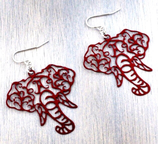 Crimson Elephant Filigree Earrings