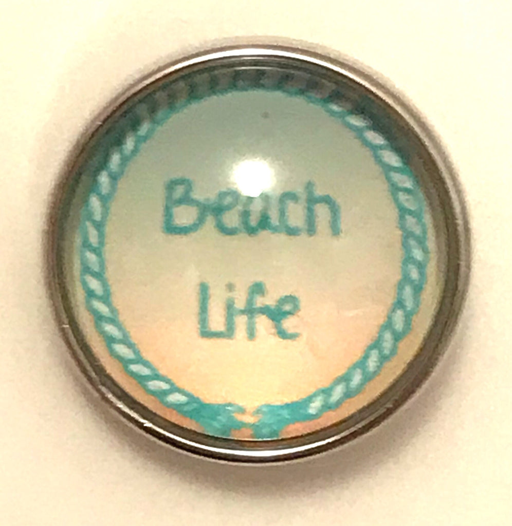 Beach Life Peach Glass Snap Charm