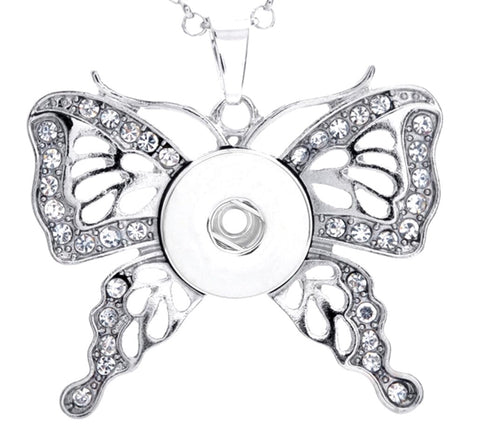 Butterfly Kisses Clear Rhinestone Pendant