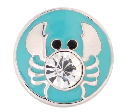 Teal Sparkle Crab Snap Charm