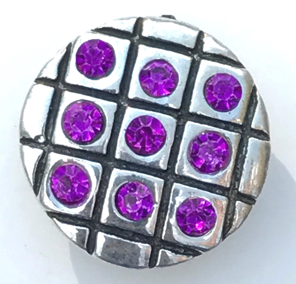Checker Board Magenta Snap Charm