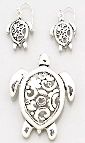 Turtle Filagree Earring & Pendant Set
