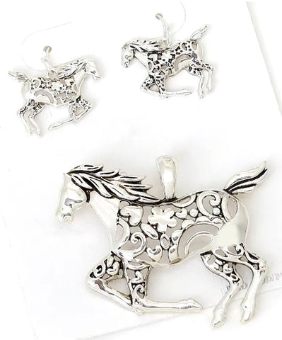 Horse Filagree Earring & Pendant Set