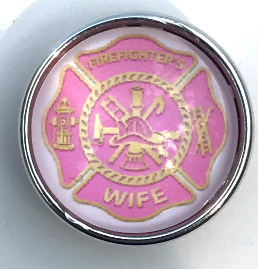 Blush Firefighter Wife Glass Snap Charm