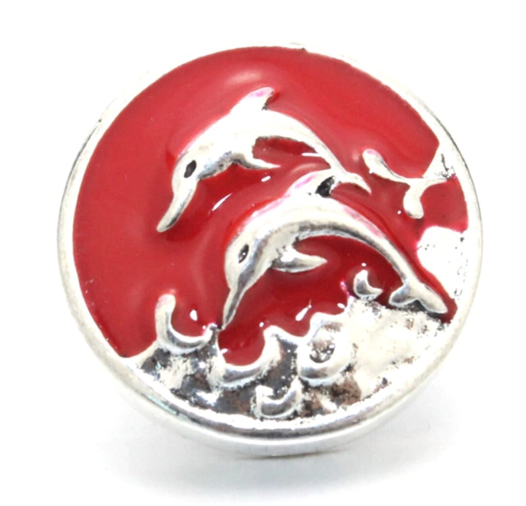 Dolphins Jump Red Snap Charm
