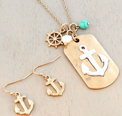 Anchor Dog Tag  Necklace & Earring Set
