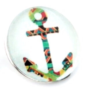 Anchor Mosaic Snap Charm Glass