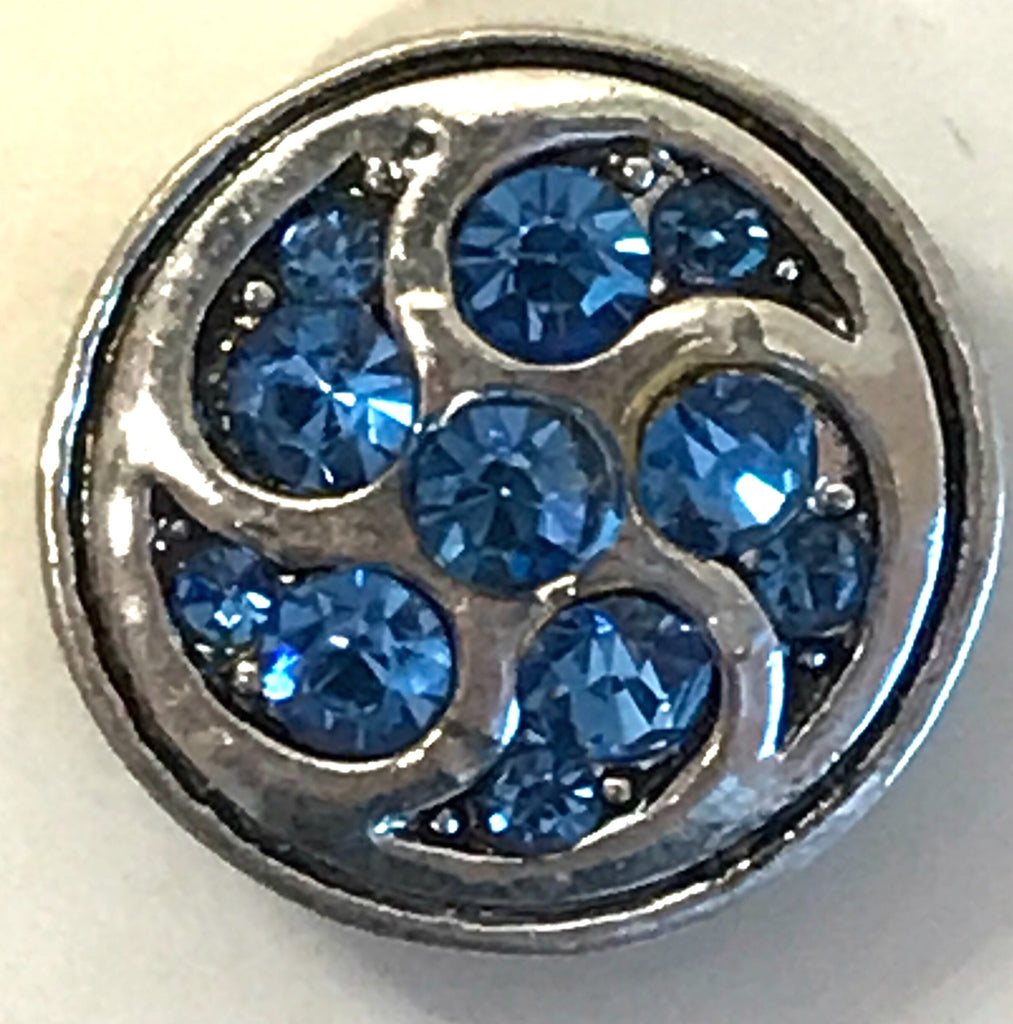 Pinwheel Blue Metal Snap Charm