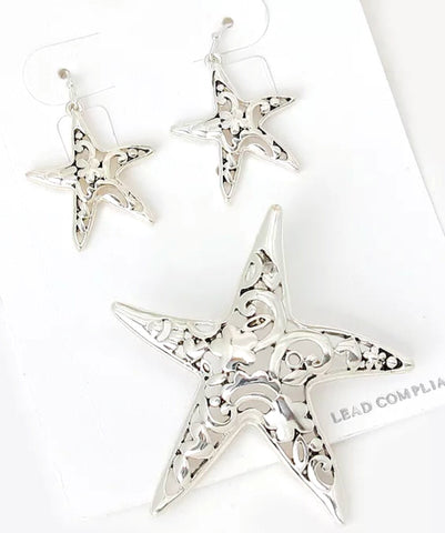 Star Fish Filigree Earring & Pendant Set