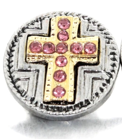 Two-Tone & Pink Cross Snap Charm
