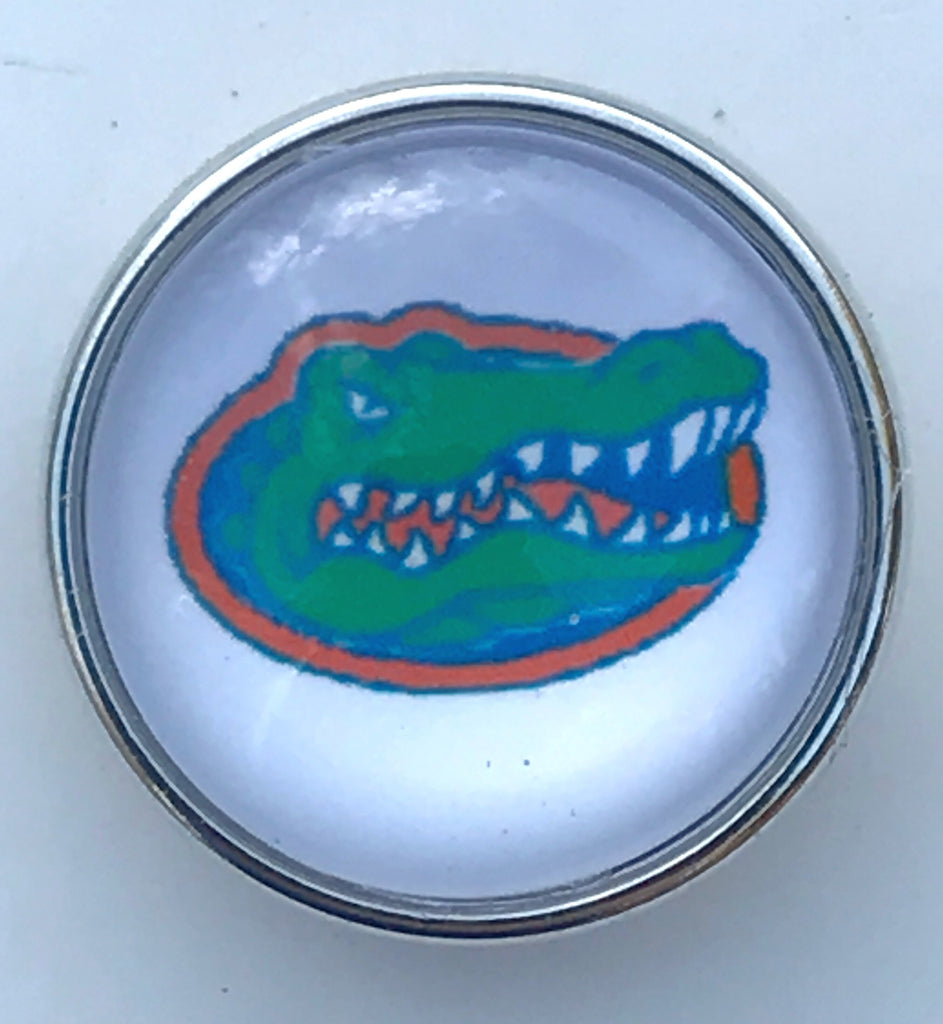 Gators White Glass Snap Charm