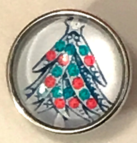 Christmas Tree Glass Snap Charm