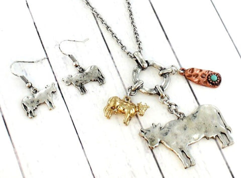 Moo Cow Swag Necklace/Earring Set
