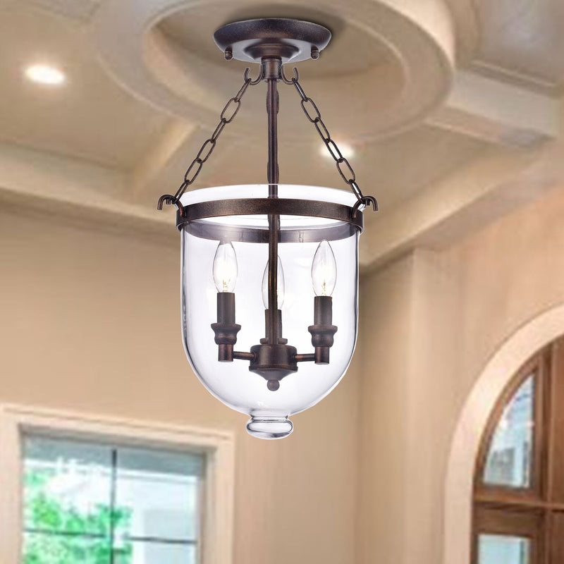 Cymopoleia 3 Light Semi-Flush Pendant