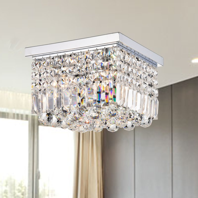 Phlegethon 4 Light Square Flush Mount - Chrome