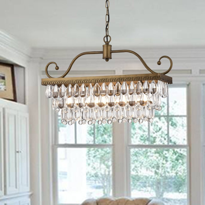 Ladon 4 light Crystal Chandelier- Golden Bronze