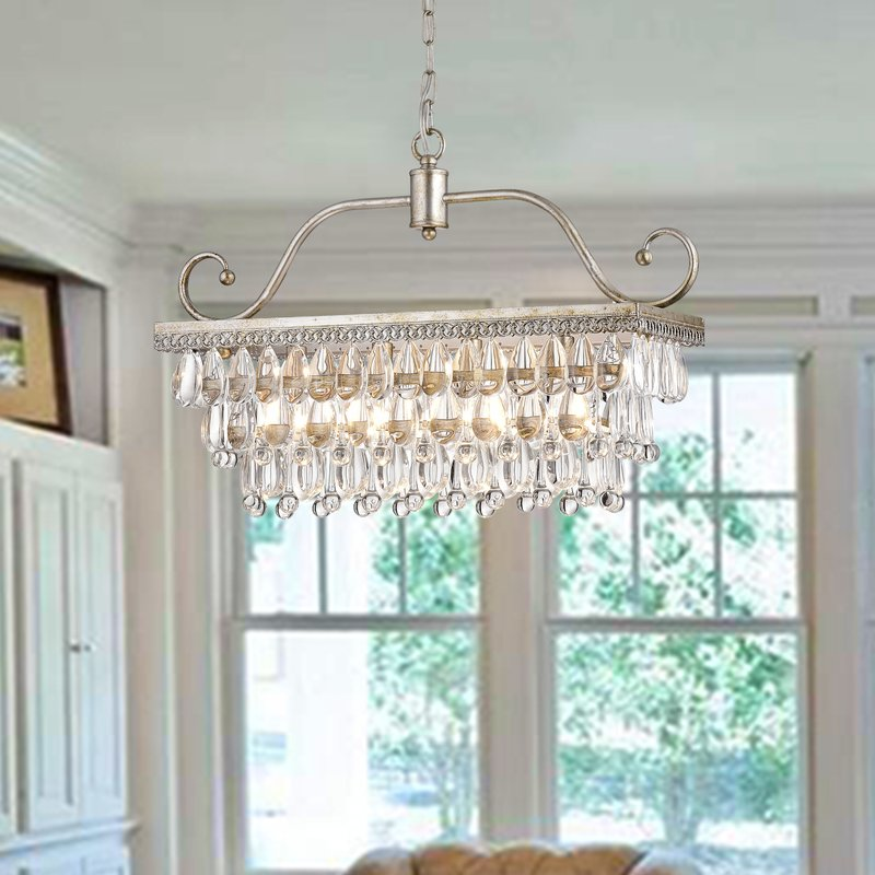 Ladon 4 Light Crystal Chandelier - Antique Silver